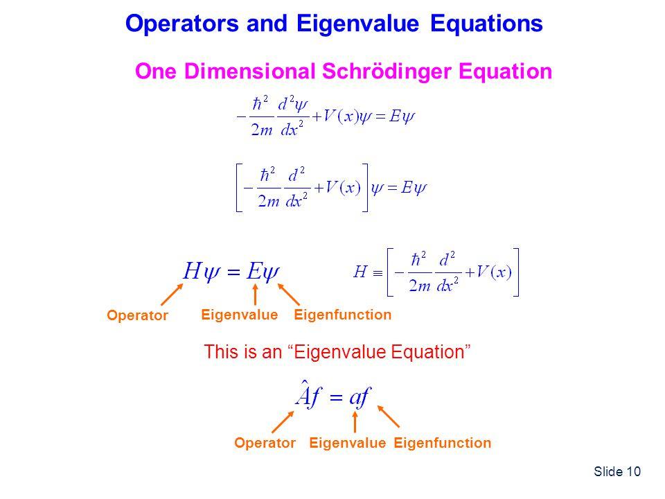 Operators and Eigenvalue Equations