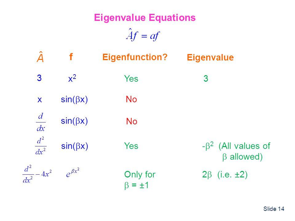 Eigenvalue Equations f Eigenfunction Eigenvalue 3 x2 Yes 3 x sin(x)
