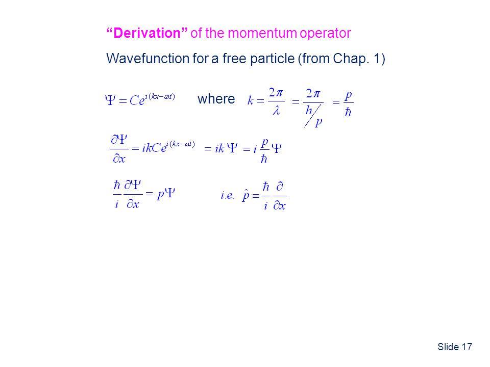 Derivation of the momentum operator