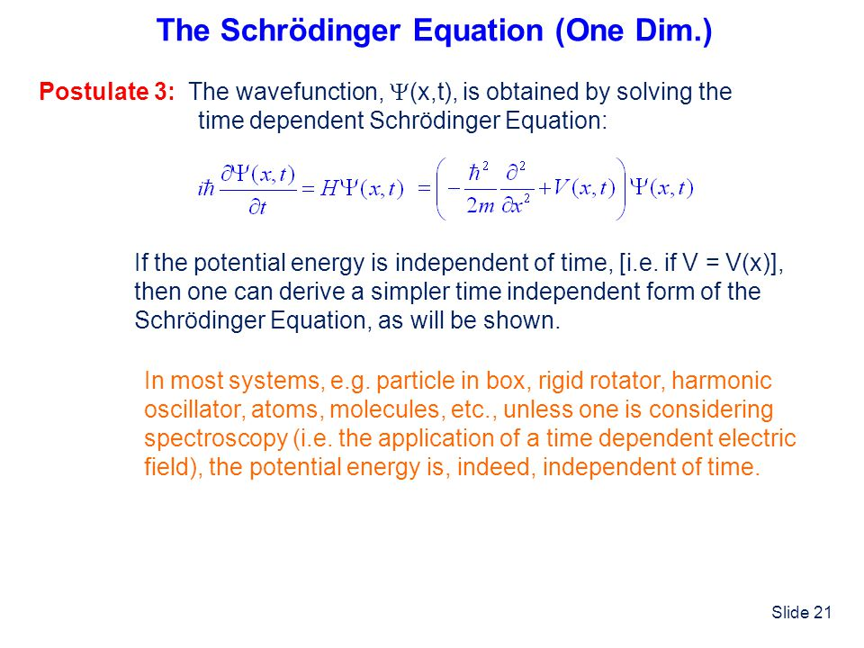 The Schrödinger Equation (One Dim.)
