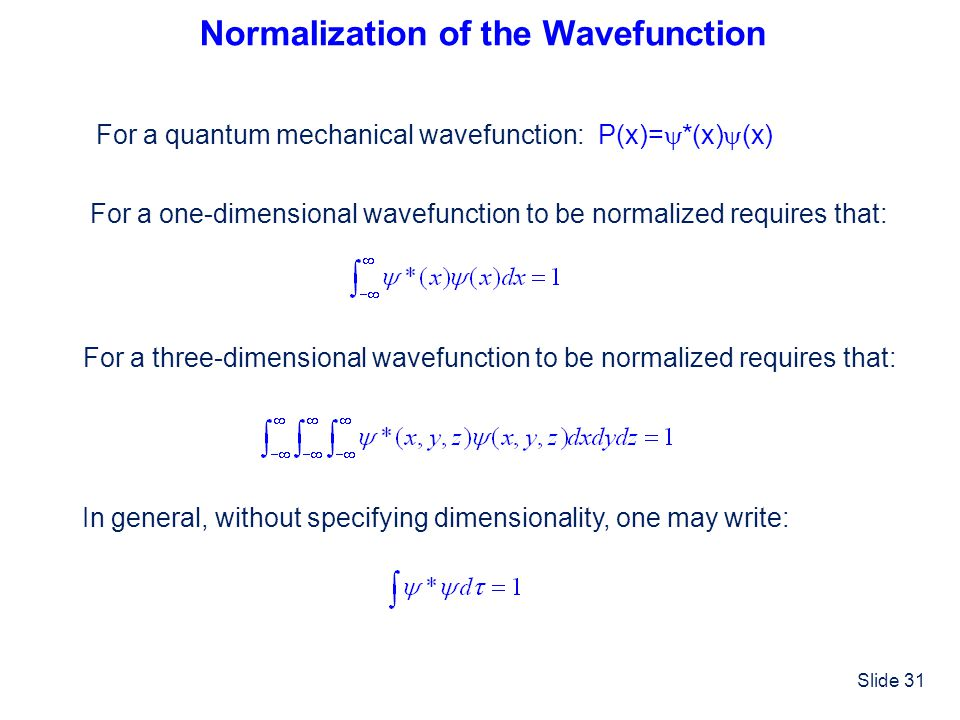 Normalization of the Wavefunction