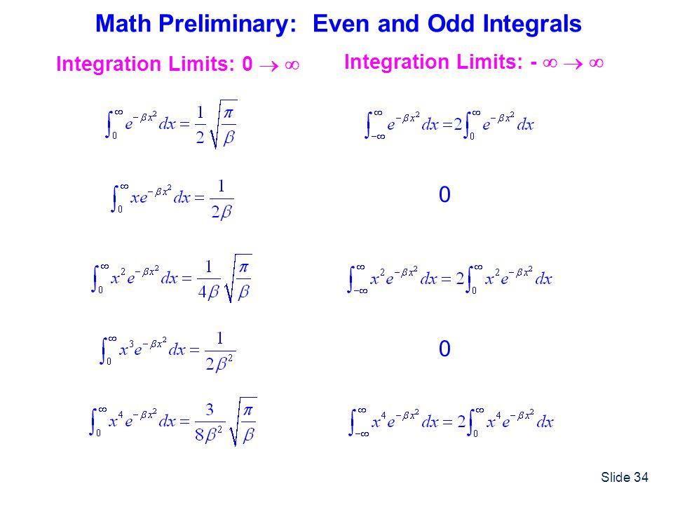Math Preliminary: Even and Odd Integrals