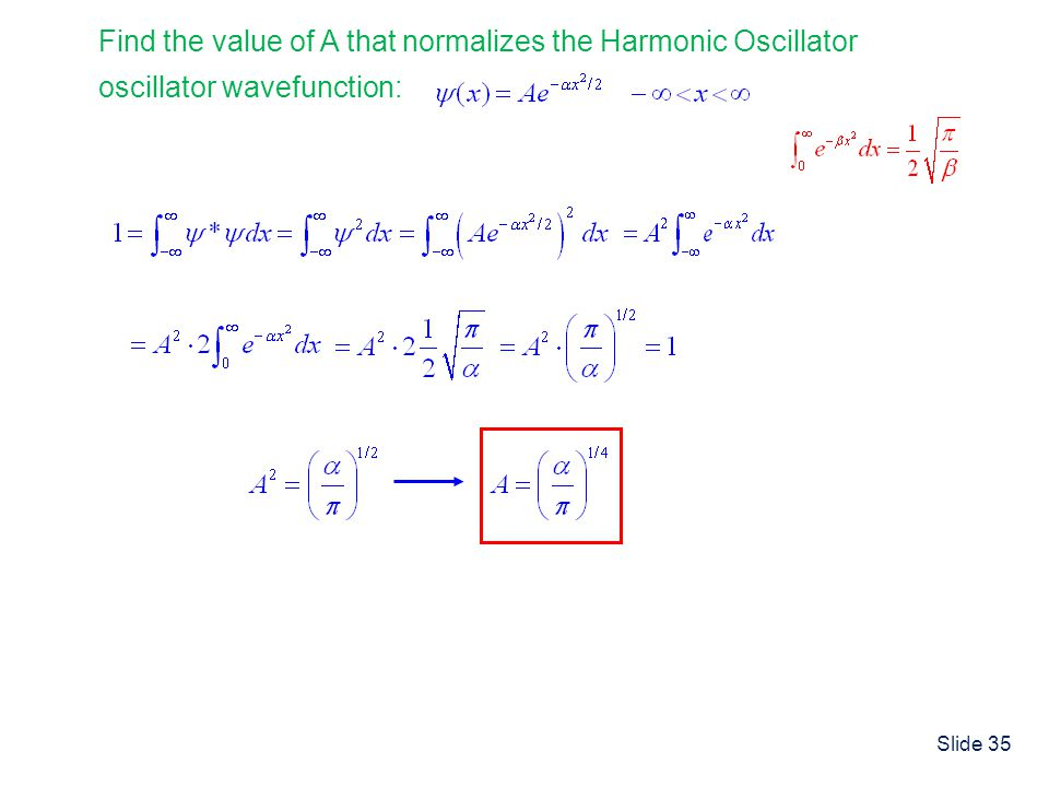 Find the value of A that normalizes the Harmonic Oscillator