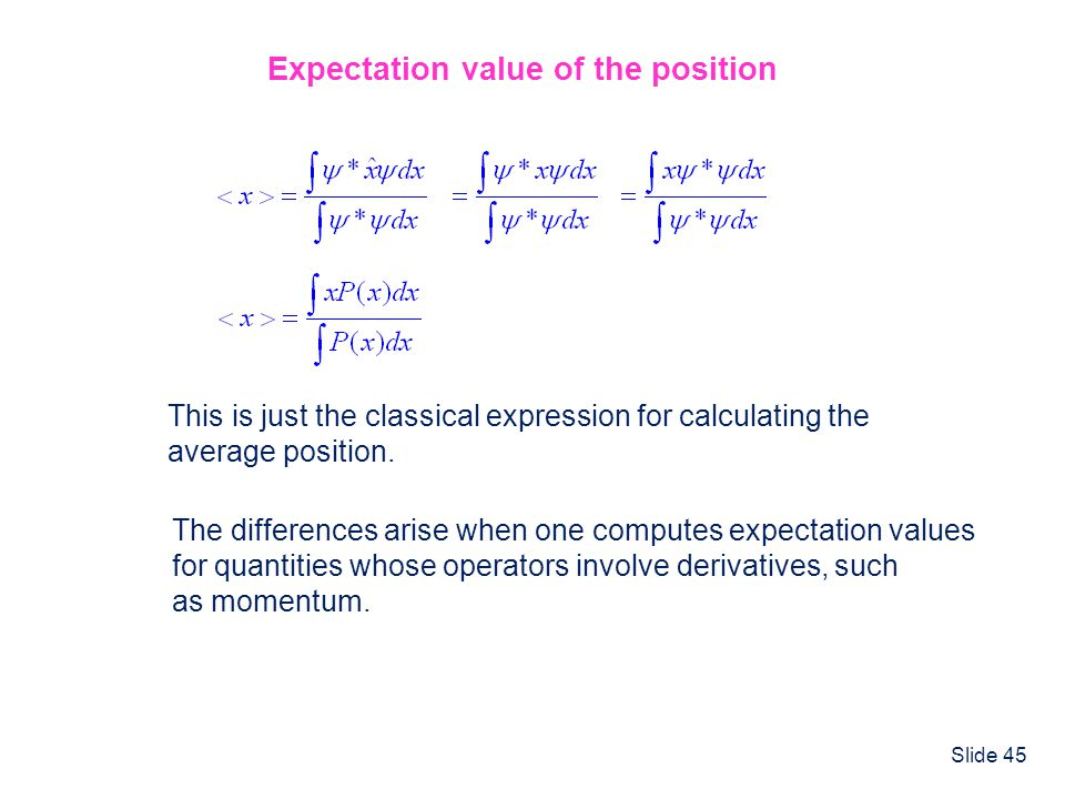 Expectation value of the position