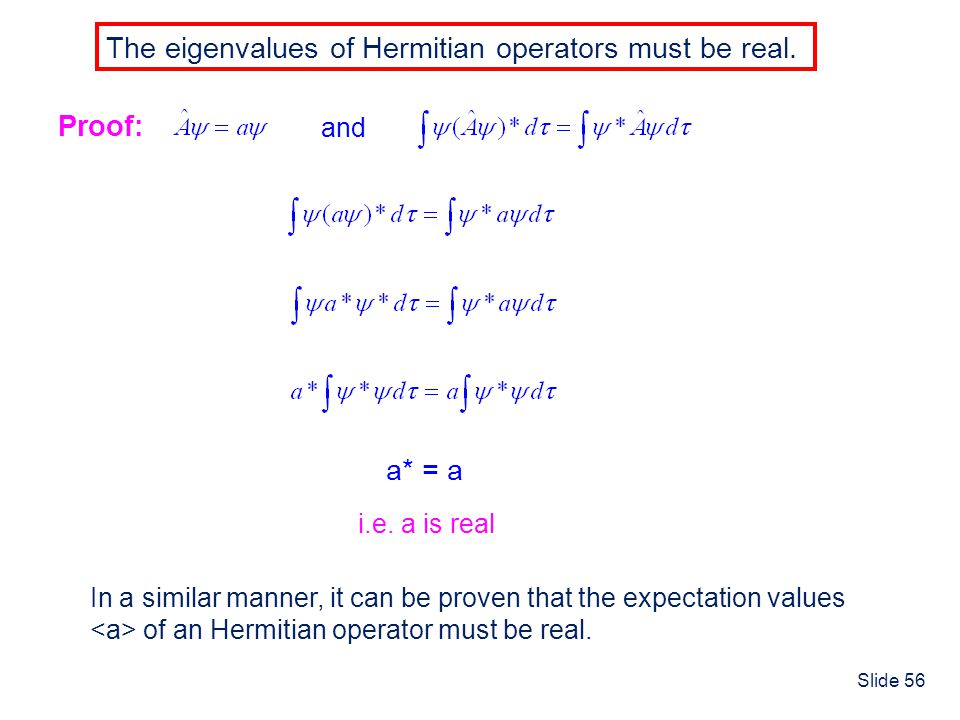The eigenvalues of Hermitian operators must be real.