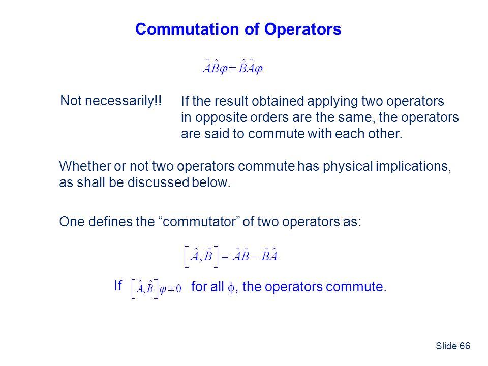 Commutation of Operators
