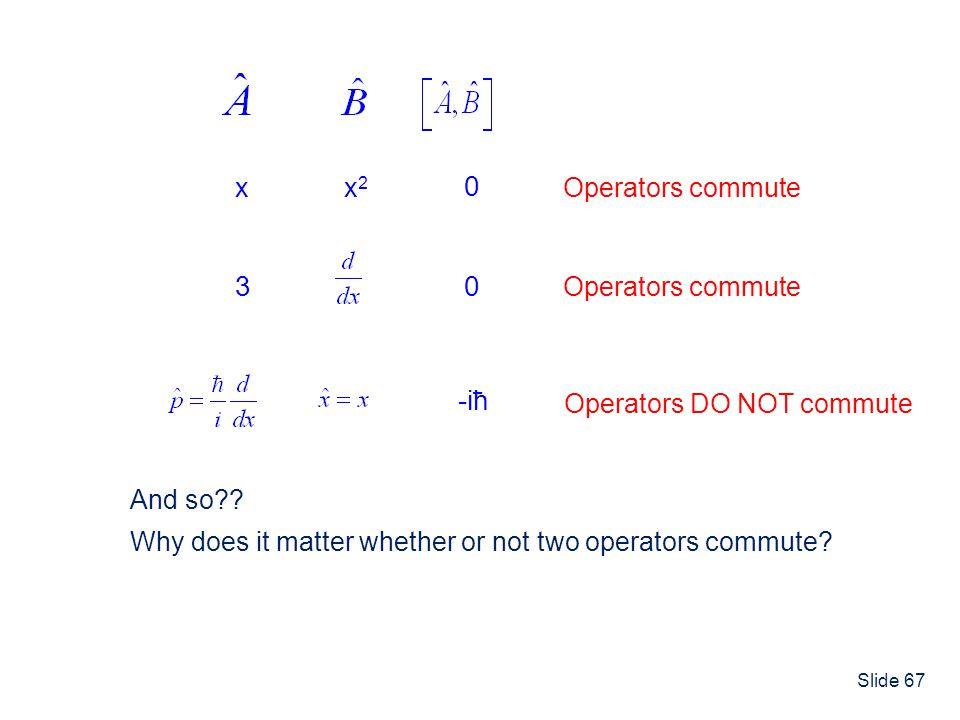 3 -iħ x x2 Operators commute Operators commute