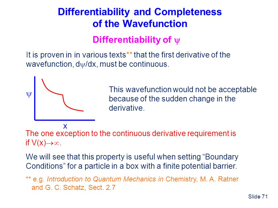 Differentiability and Completeness of the Wavefunction