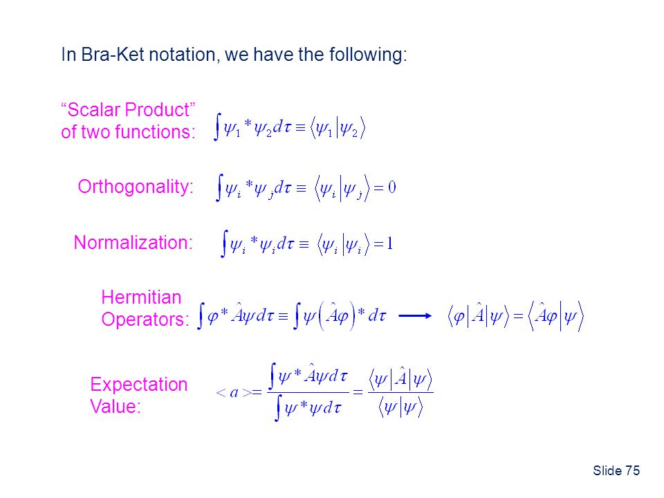 In Bra-Ket notation, we have the following: