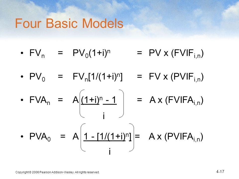 Four Basic Models FVn = PV0(1+i)n = PV x (FVIFi,n)
