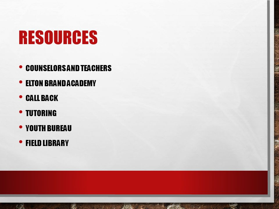 resources Counselors and teachers Elton brand academy Call back