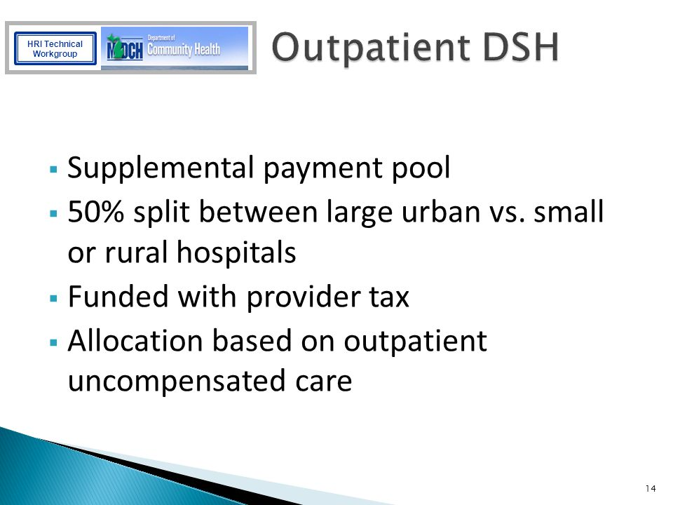 Outpatient DSH Supplemental payment pool