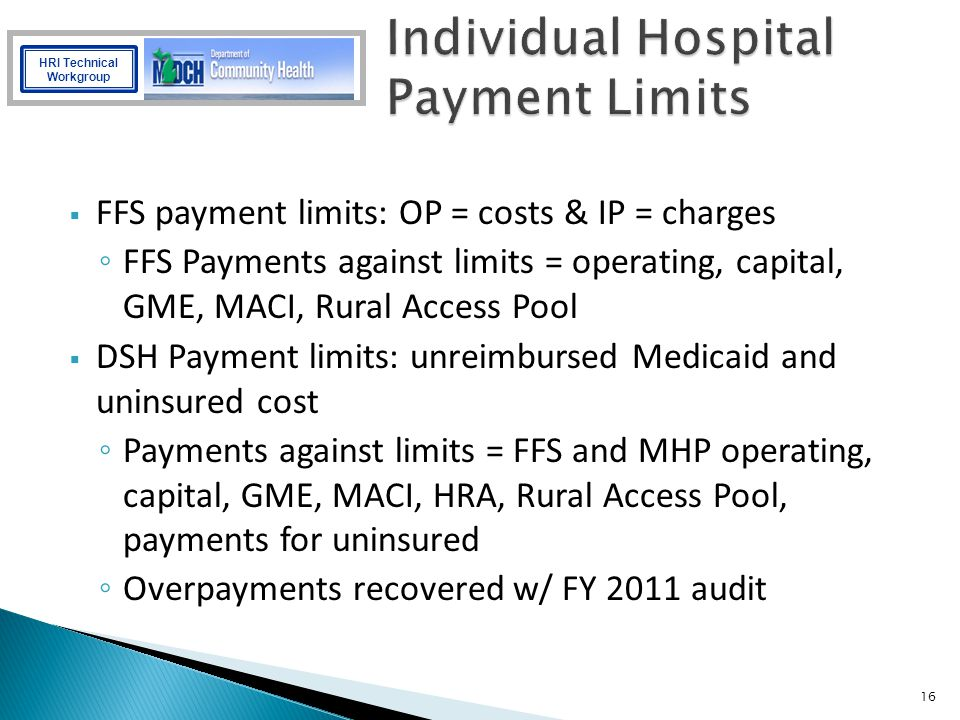 Individual Hospital Payment Limits