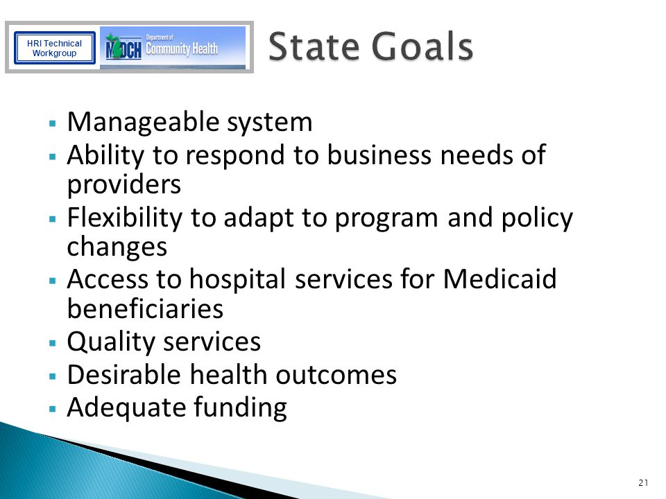 State Goals Manageable system