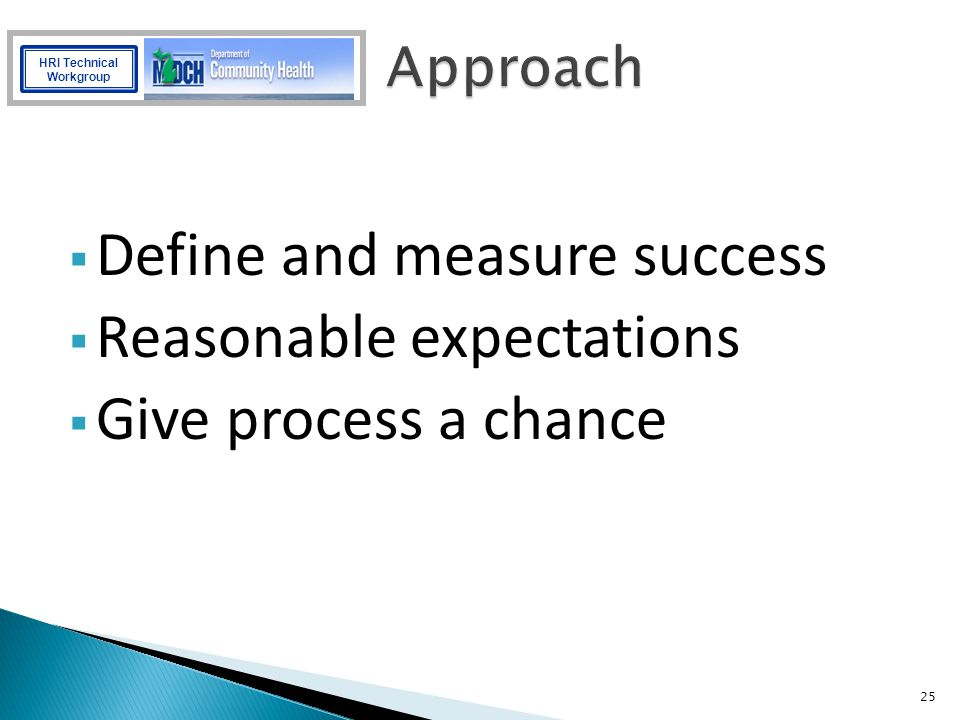 Define and measure success Reasonable expectations