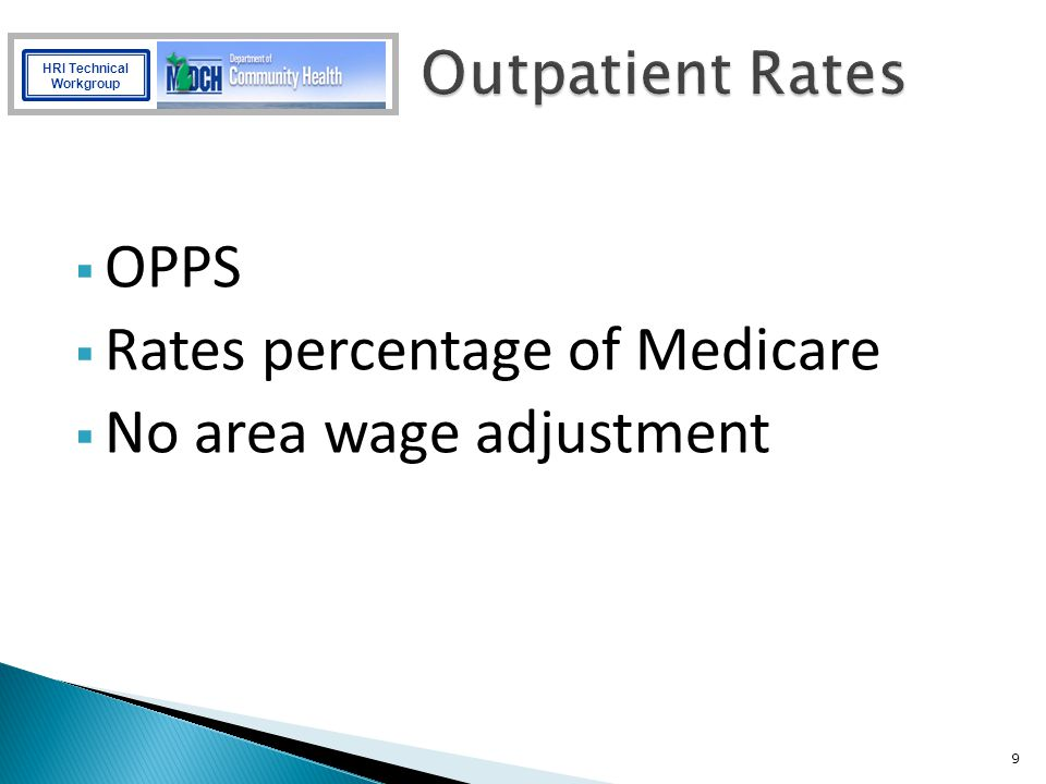 Rates percentage of Medicare No area wage adjustment