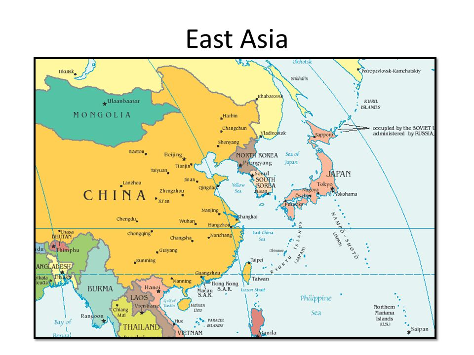 Map Of East Asia Yangtze River.East Asia