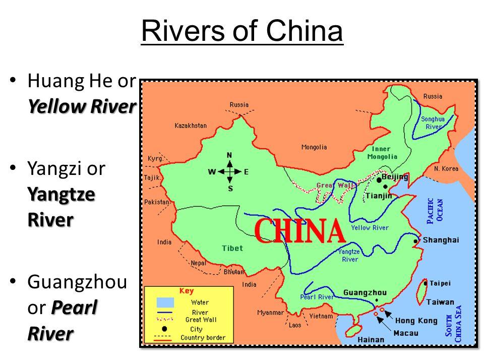 Rivers of China Huang He or Yellow River Yangzi or Yangtze River