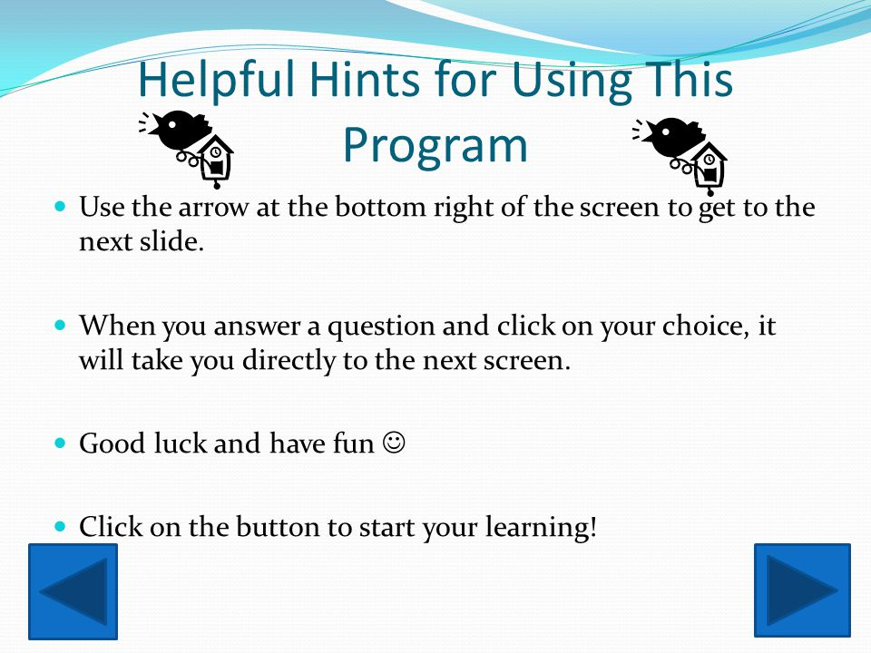 Helpful Hints for Using This Program