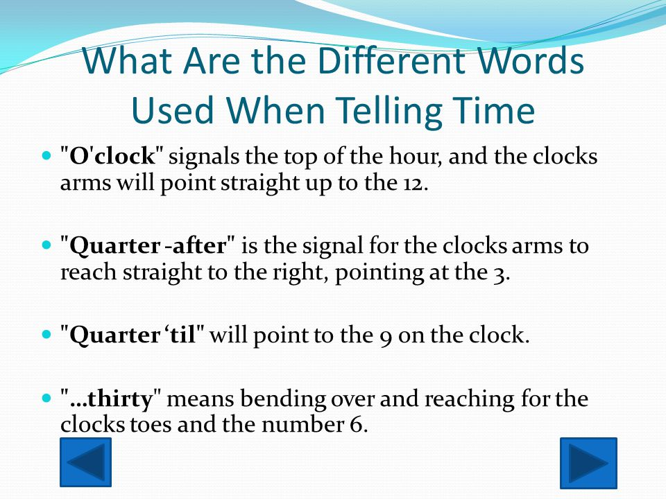 What Are the Different Words Used When Telling Time