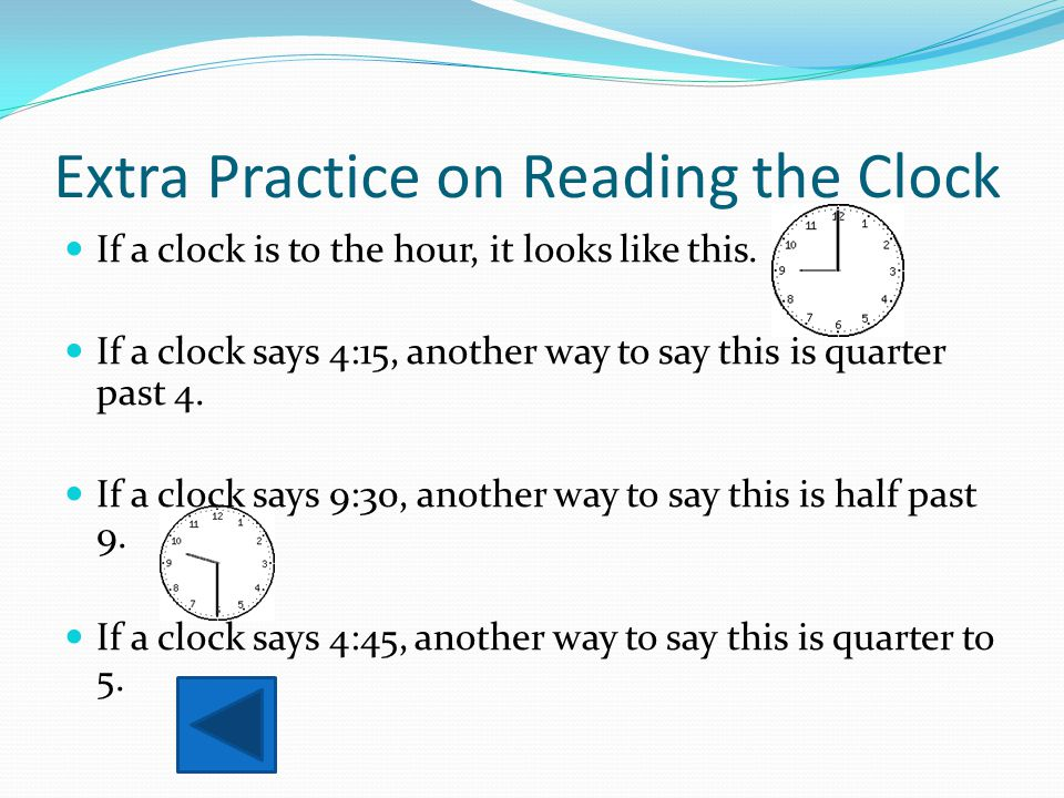 Extra Practice on Reading the Clock