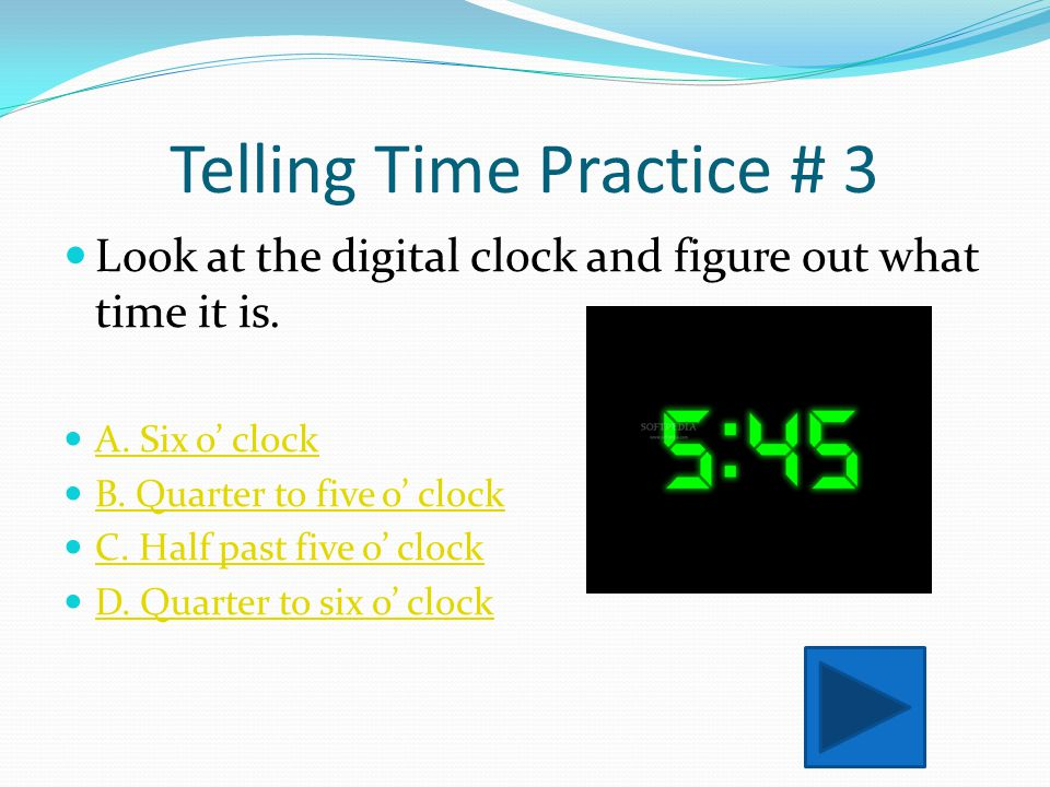 Telling Time Practice # 3