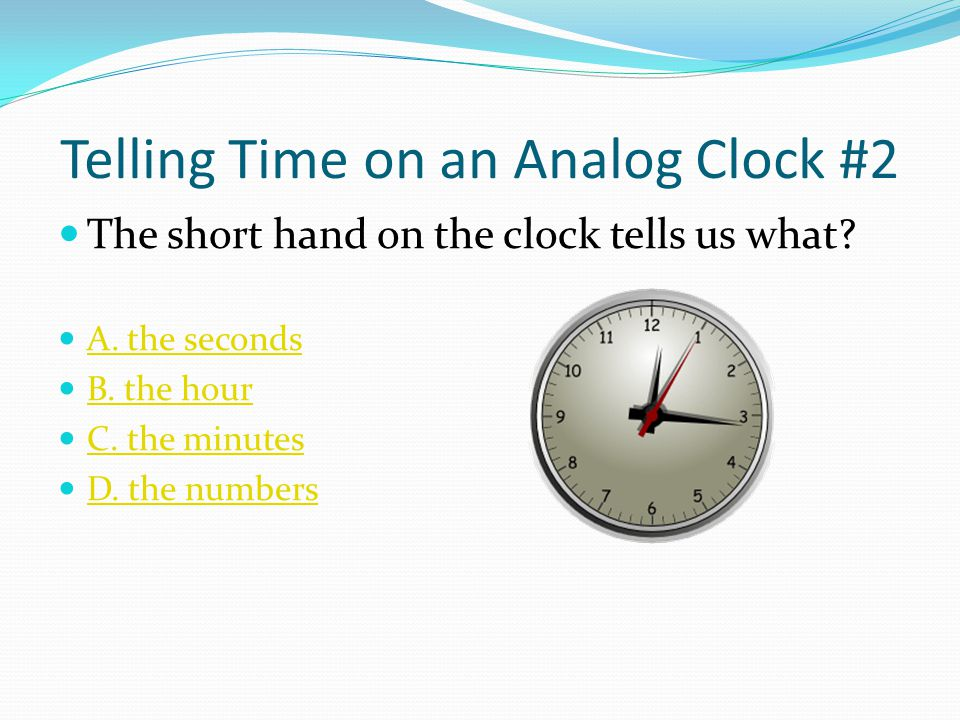 Telling Time on an Analog Clock #2