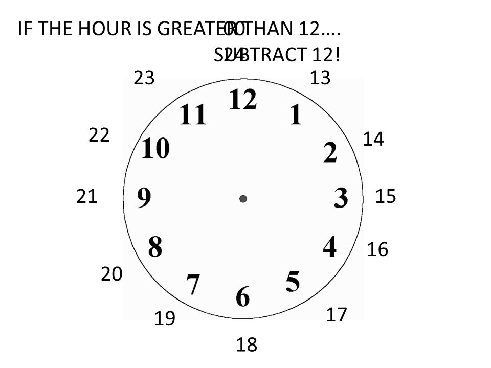 IF THE HOUR IS GREATER THAN 12….