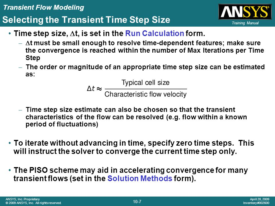 Selecting the Transient Time Step Size