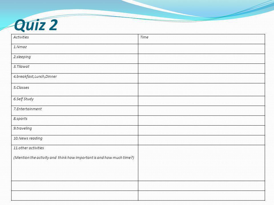Quiz 2 Activities Time 1.Nmaz 2.sleeping 3.Tilawat