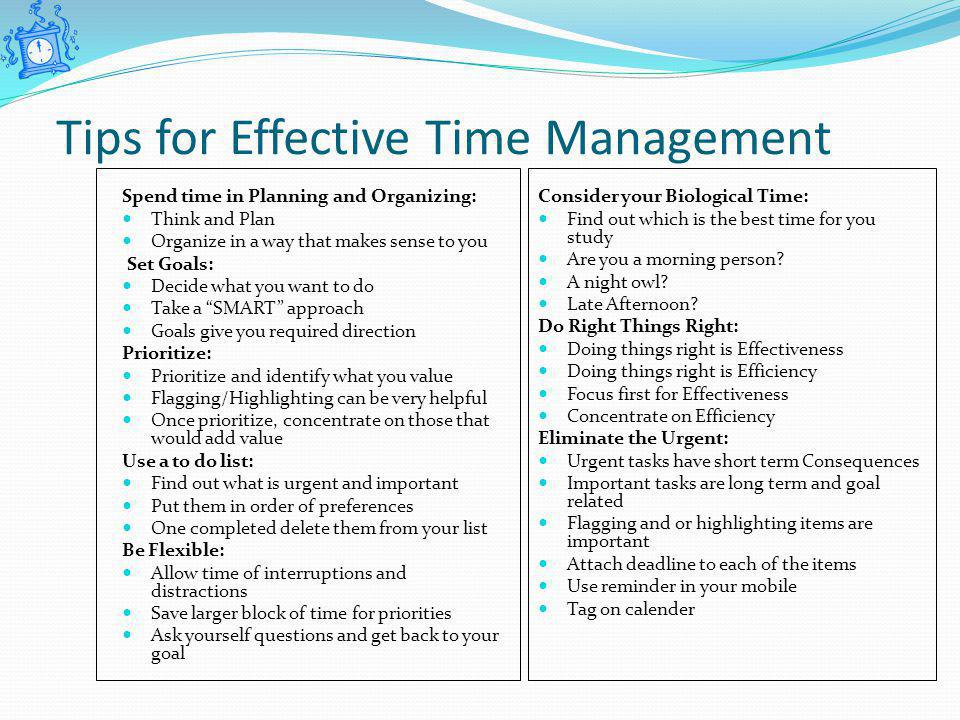 the effectiveness of time management strategies It's no secret that effective time management strategies are essential to success therefore, since we all have 24 hours in the day to work with, why not make the best use of them.