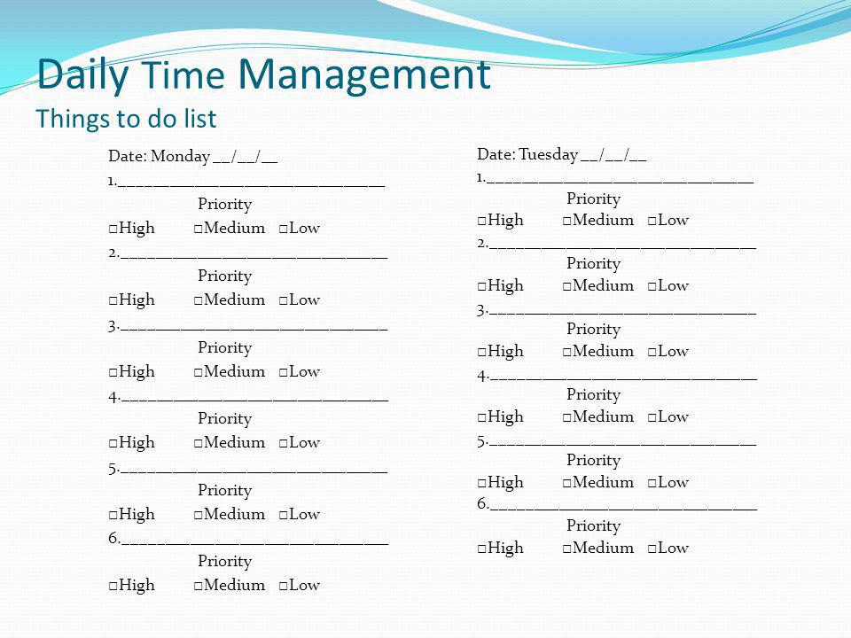 Daily Time Management Things to do list