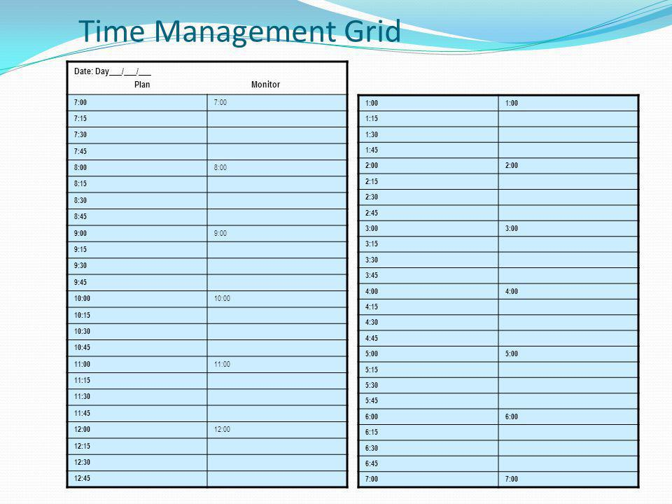 Time Management Grid Date: Day___/___/___ Plan Monitor 7:00 7:15 7:30