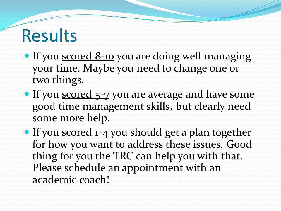 Results If you scored 8-10 you are doing well managing your time. Maybe you need to change one or two things.