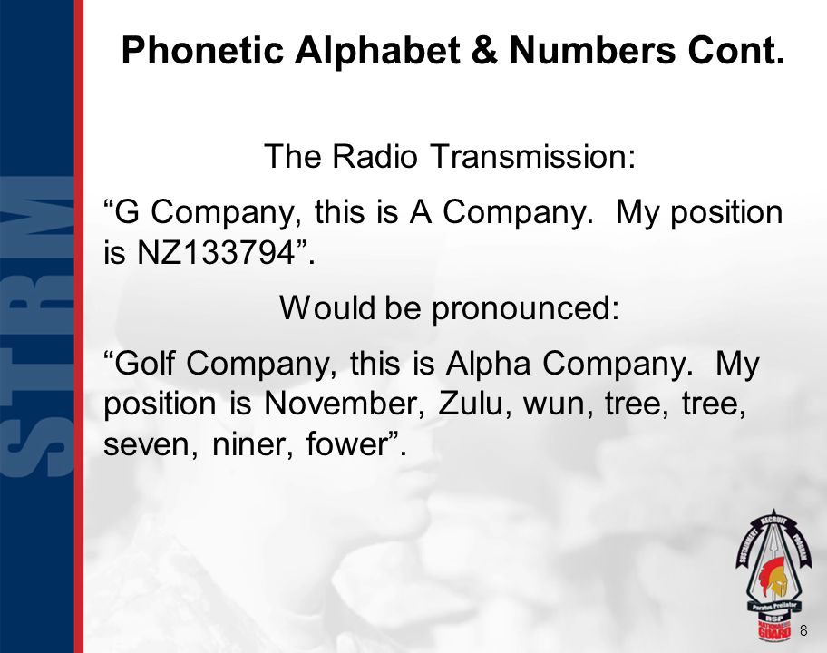 Phonetic Alphabet & Numbers Cont.