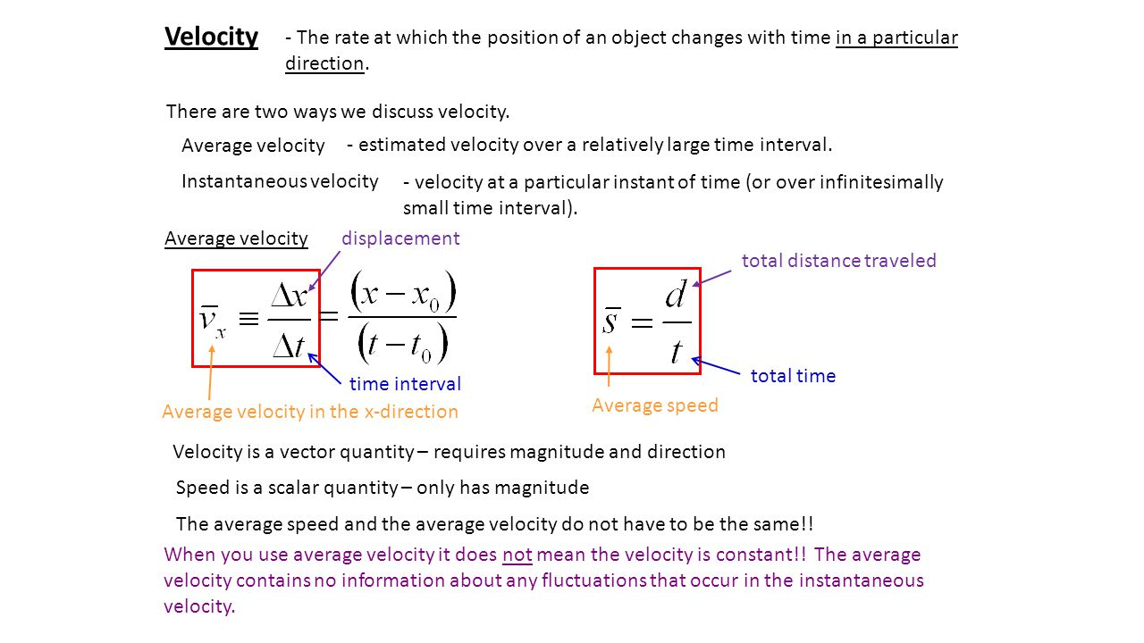 Velocity - The rate at which the position of an object changes with time in a particular direction.