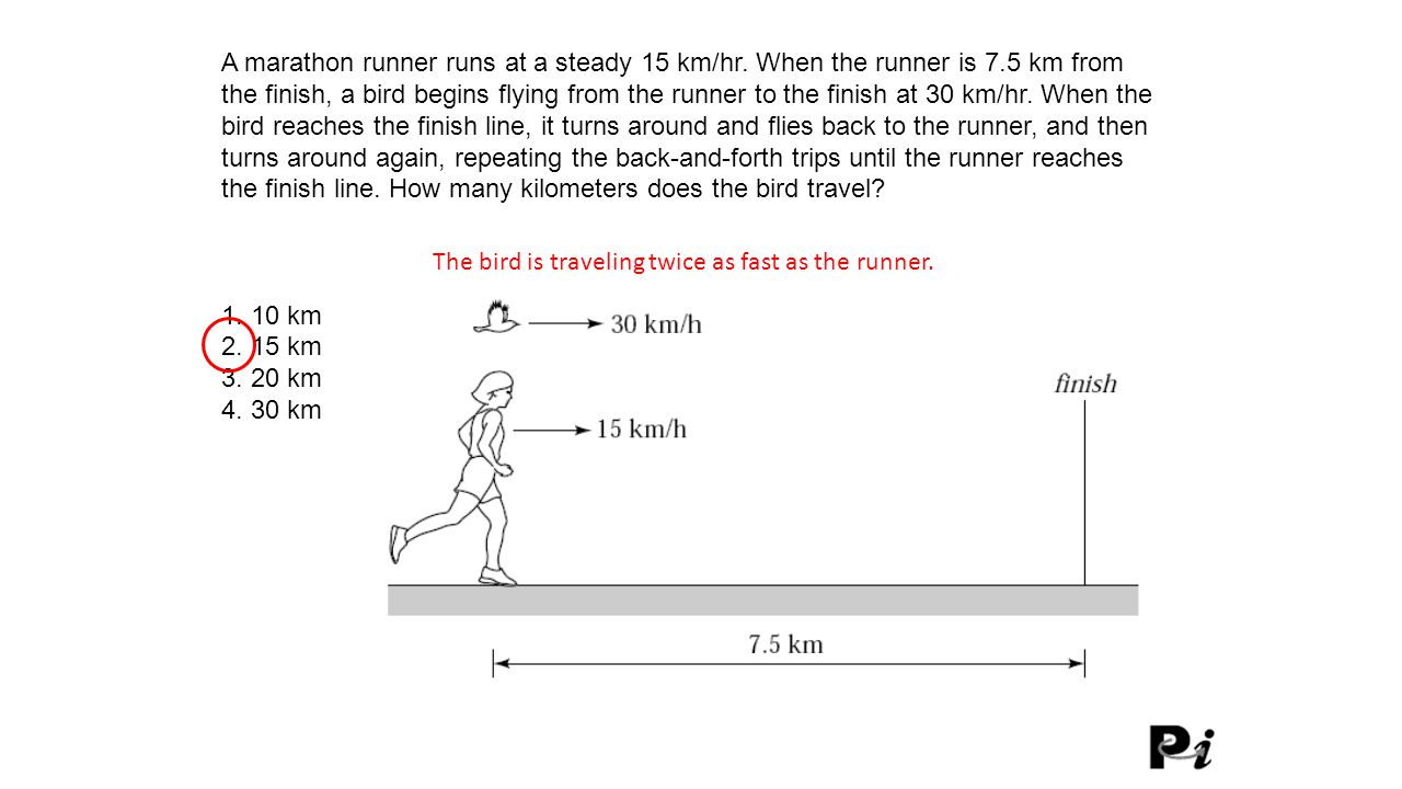 The bird is traveling twice as fast as the runner.