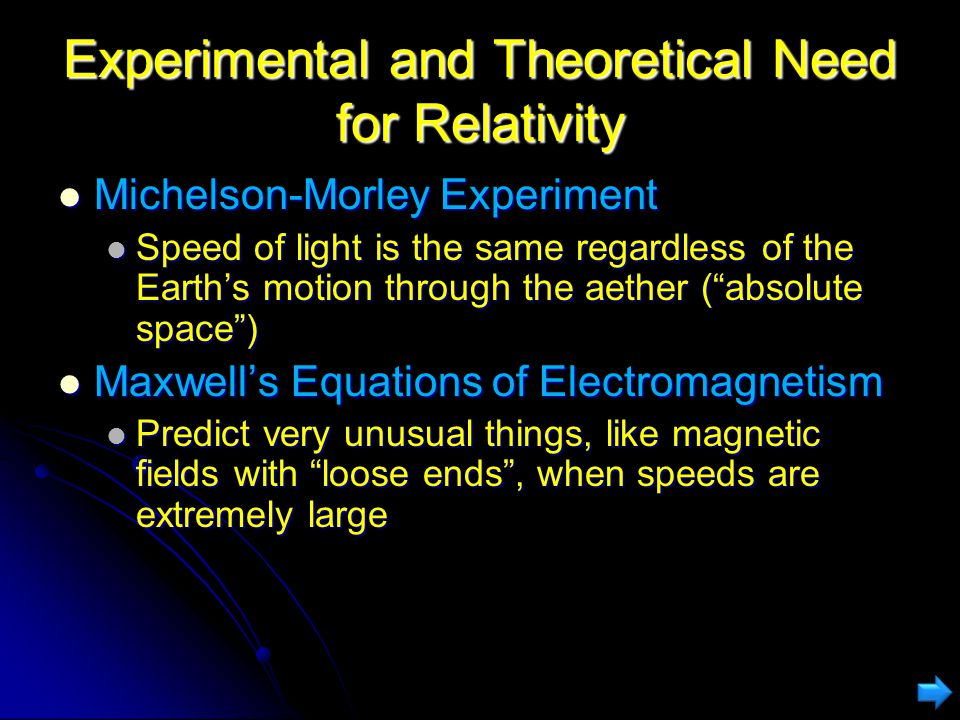 Experimental and Theoretical Need for Relativity