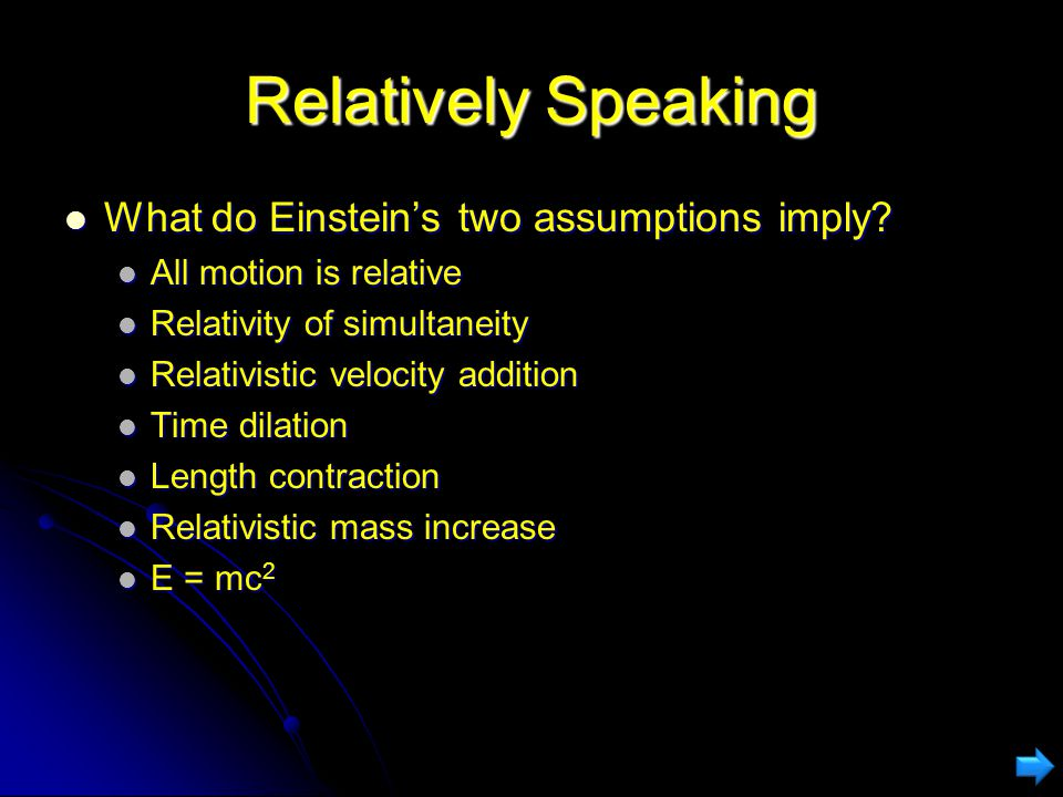 Relatively Speaking What do Einstein's two assumptions imply