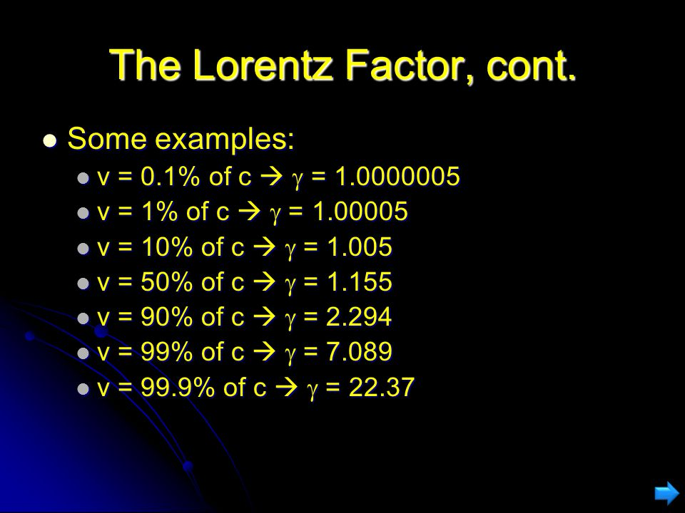 The Lorentz Factor, cont.