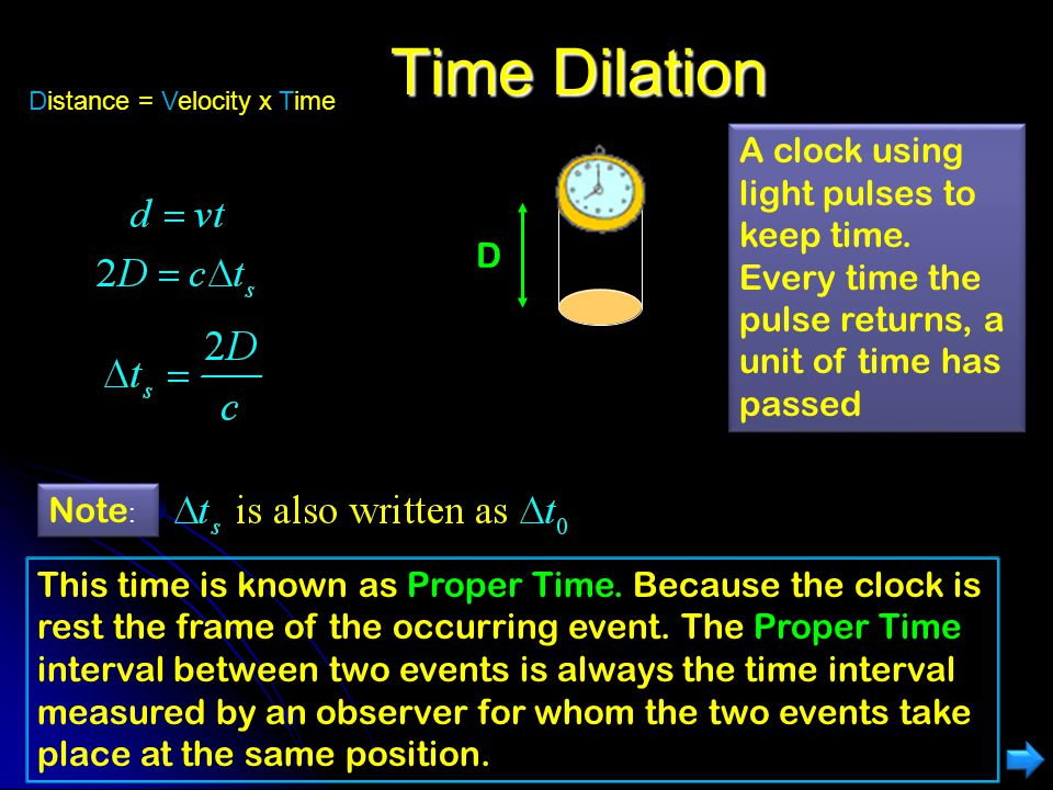 Time Dilation Distance = Velocity x Time. A clock using light pulses to keep time. Every time the pulse returns, a unit of time has passed.