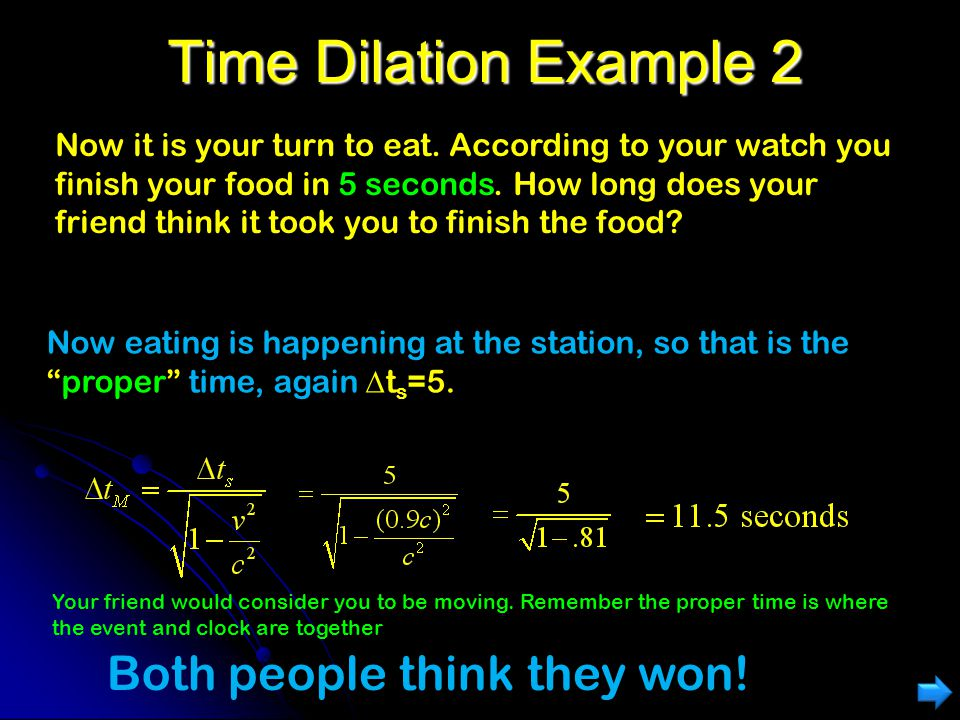 Time Dilation Example 2 Both people think they won!
