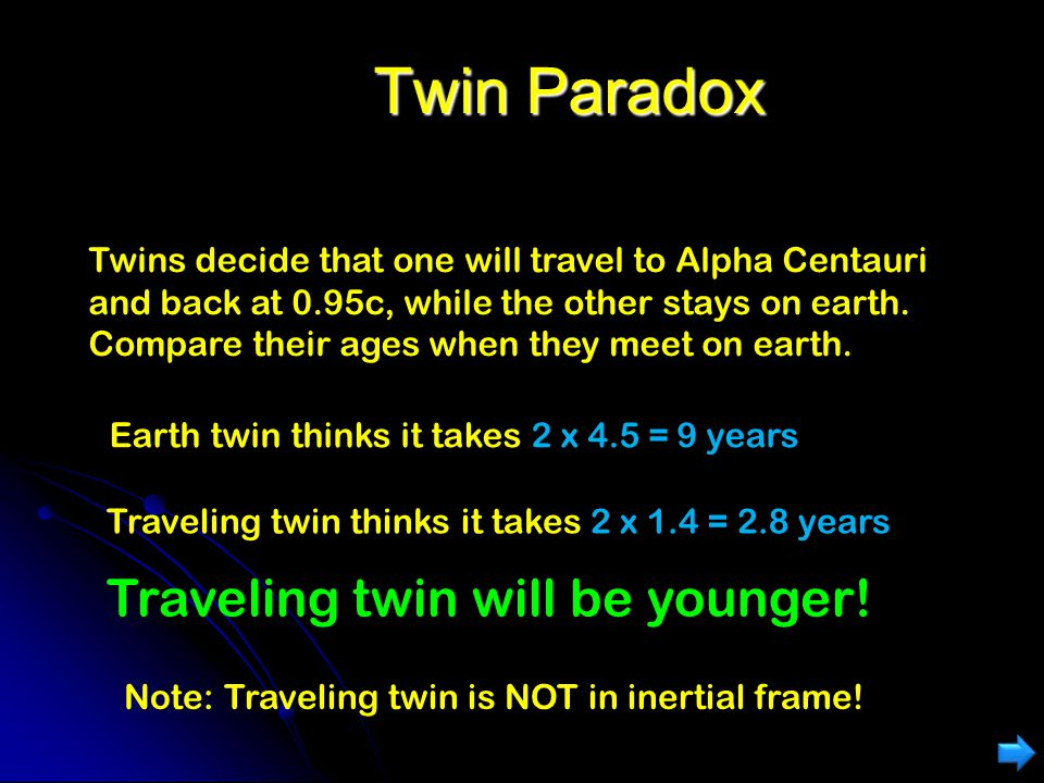 Twin Paradox Traveling twin will be younger!