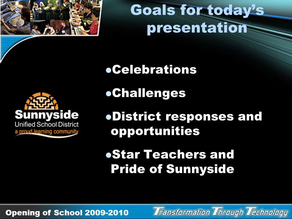 Goals for today's presentation