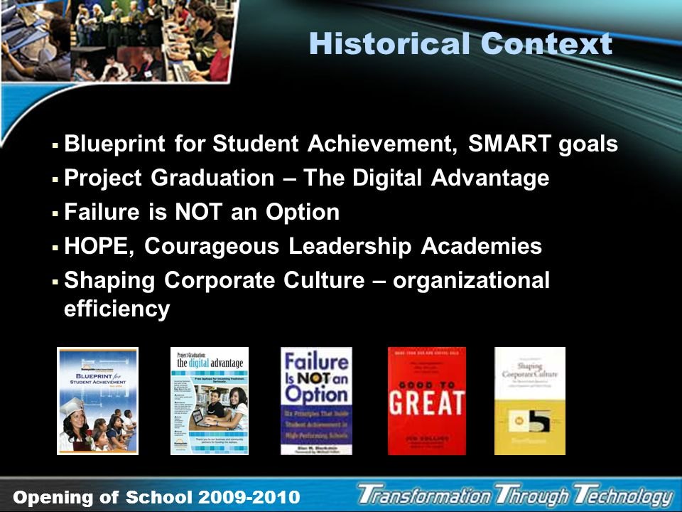 Historical Context Blueprint for Student Achievement, SMART goals