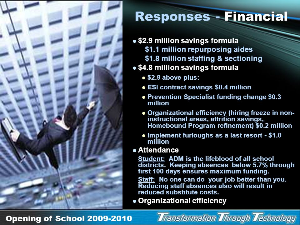 Responses - Financial $2.9 million savings formula