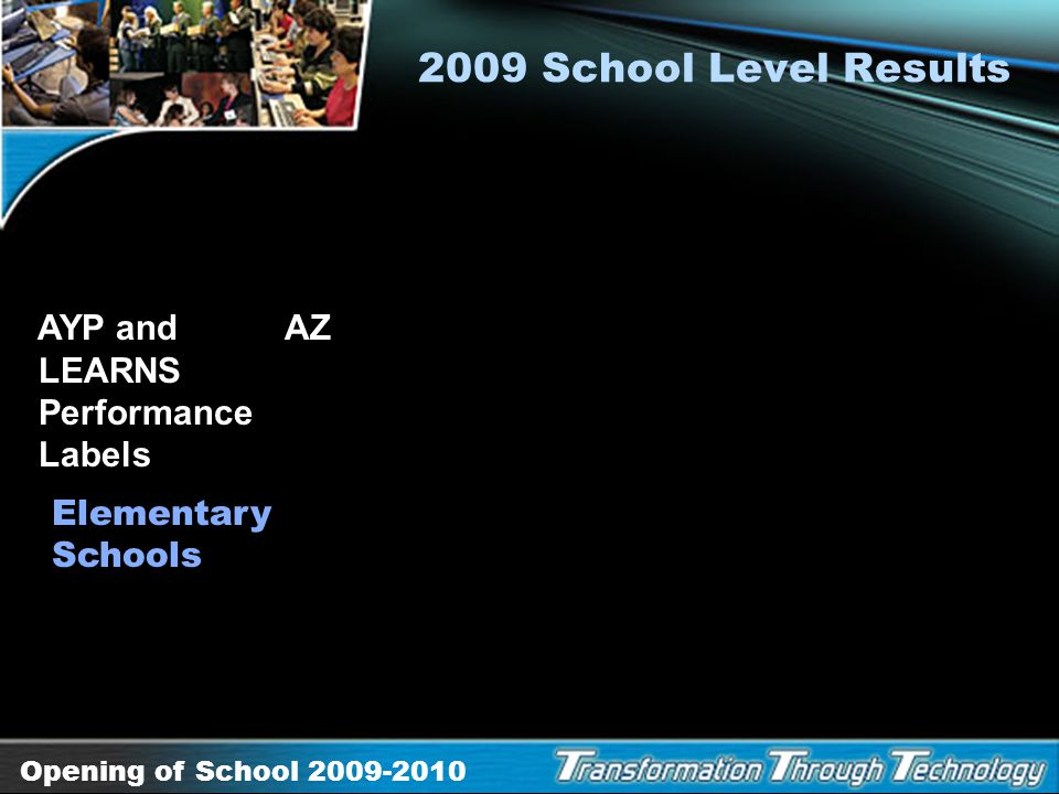 2009 School Level Results AYP and AZ LEARNS Performance Labels