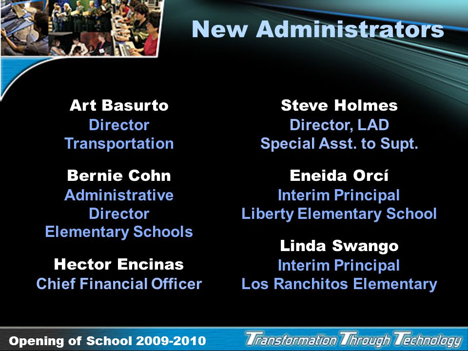New Administrators Art Basurto Director Transportation