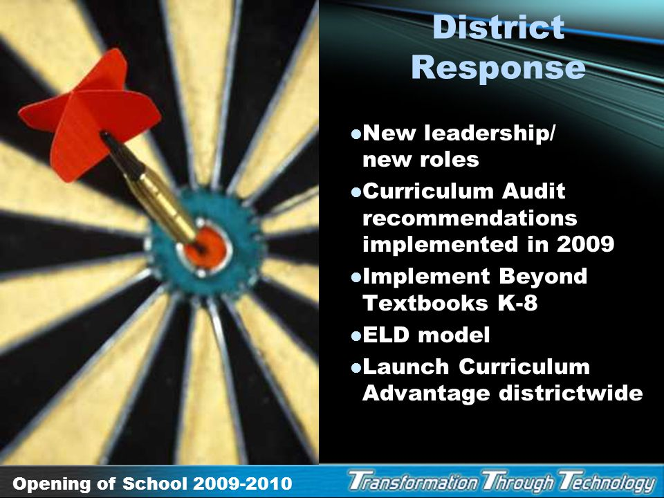 District Response New leadership/ new roles
