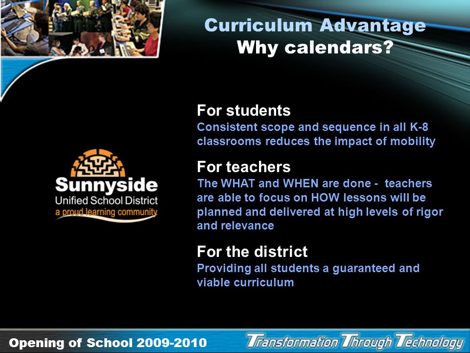 Curriculum Advantage Why calendars